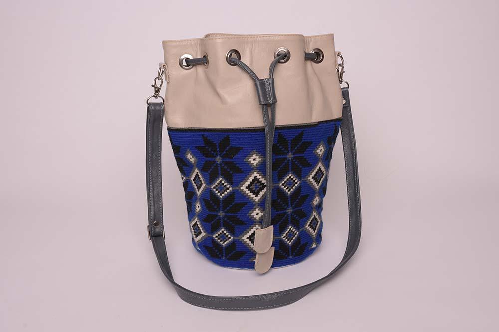 Mochila Wayuu cuir beige