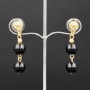 Boucles d'oreilles ethniques pendantes plaqué or avec pierres semi-précieuses onyx noir