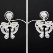 Boucles d'oreilles ethniques pendantes artisanales papillon Tairona plaqué argent