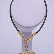 Bracelet ethnique artisanal de Colombie Tairona en cuir et plaqué or