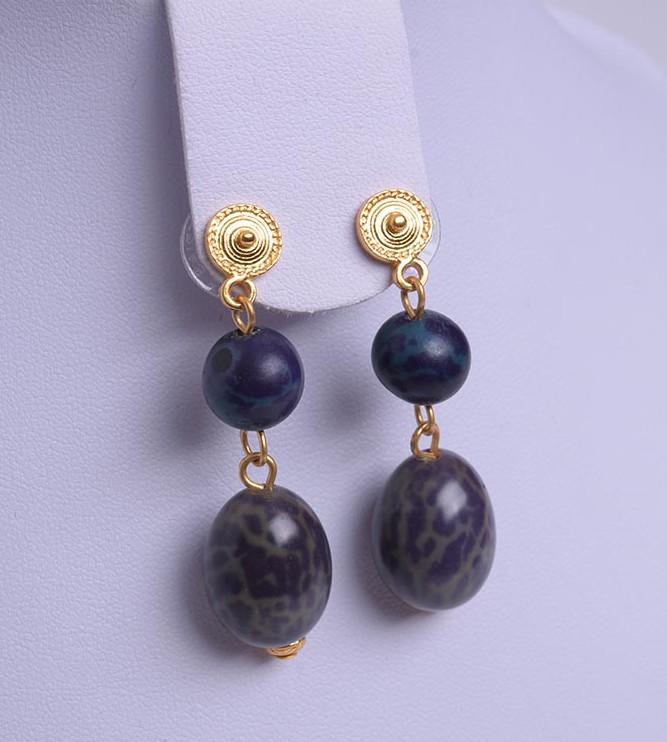 Boucles d'oreilles pendantes ethniques graine bleue