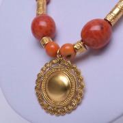 Collier précolombien orange or