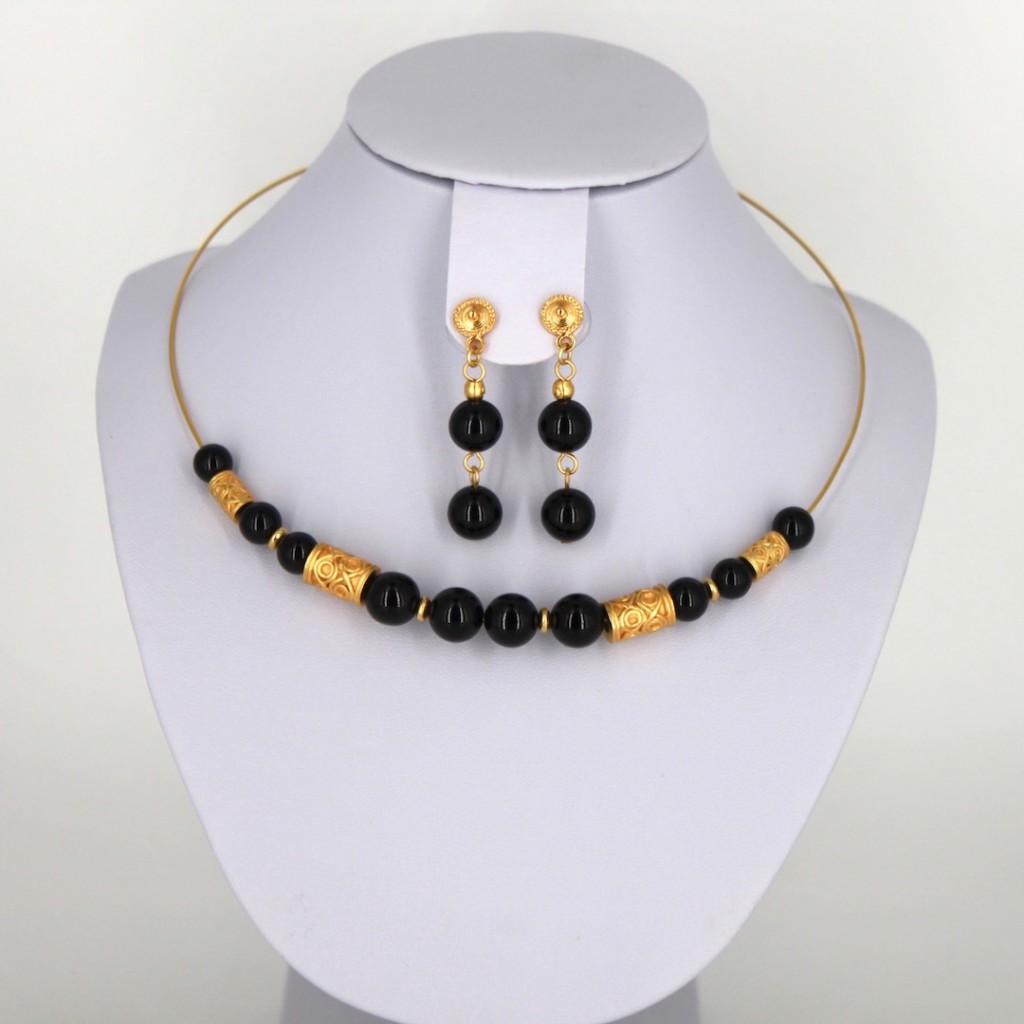 Parure ethnique collier ras du cou et boucles d'oreilles pendantes plaqué or et onyx