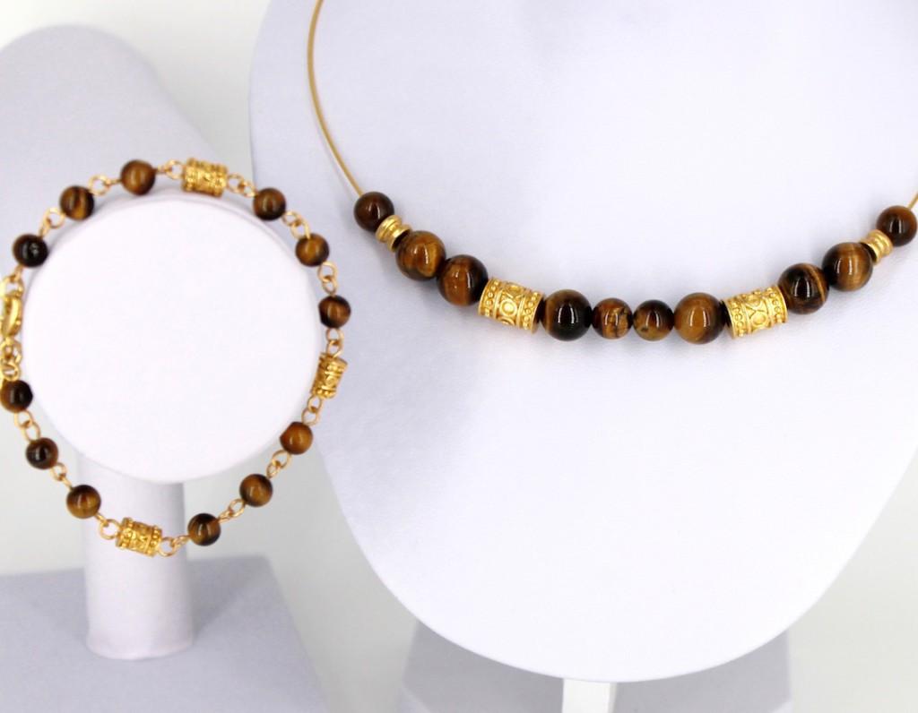 Parure de bijoux ethniques artisanaux de Colombie composés d'un bracelet et d'un collier ras du cou plaqué or et pierres semi précieuses oeil de tigre