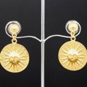 boucles d'oreilles ethniques pendantes artisanales soleil muisca plaqué or de Colombie