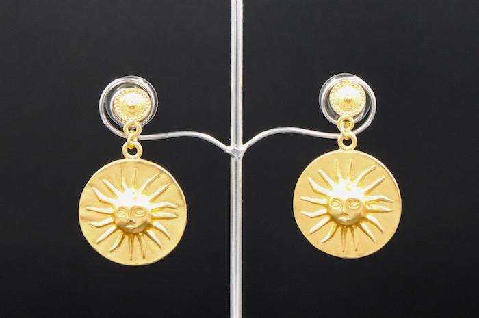 Boucles d'Oreilles Ethniques Soleil Muisca – plaqué or