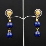 Boucles d'oreilles ethniques pendantes artisanales plaqué or avec pierres fossile bleues