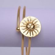 Bracelet ethnique de Colombie plaqué or orné d'un Soleil