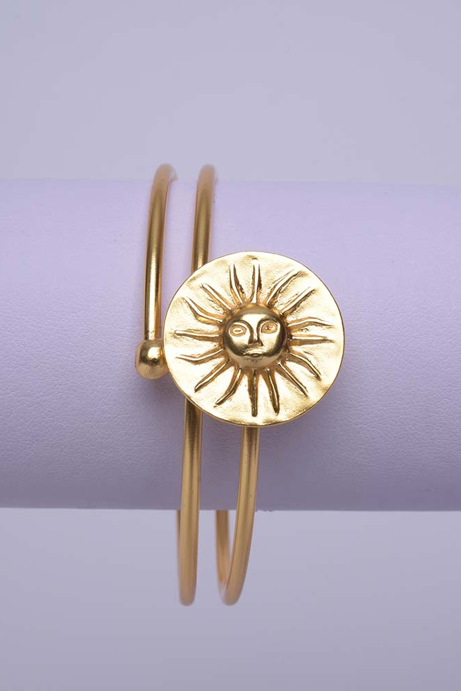 Bracelet ethnique Soleil Muisca – plaqué or