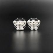 Boucles d'oreilles ethniques artisanales mini papillon Tairona plaqué argent de Colombie