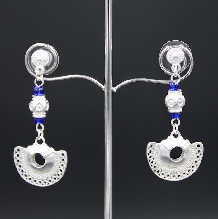 Boucles d'oreilles pendantes bleu plaqué argent Tairona