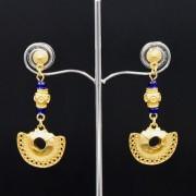 boucles d'oreilles ethniques pendantes artisanales tairona plaqué or de Colombie