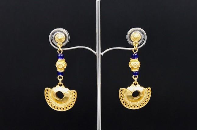 Boucles d'Oreilles pendantes bleu Tairona – plaqué or