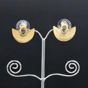 boucles d'oreilles ethniques artisanales Sinu mini plaqué or de Colombie