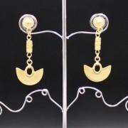 Boucles d'oreilles ethniques artisanales pendantes plaqué or de Colombie (longues)