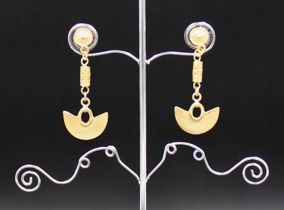 Boucles d'oreilles ethniques pendantes plaqué or Nariguera Sinu
