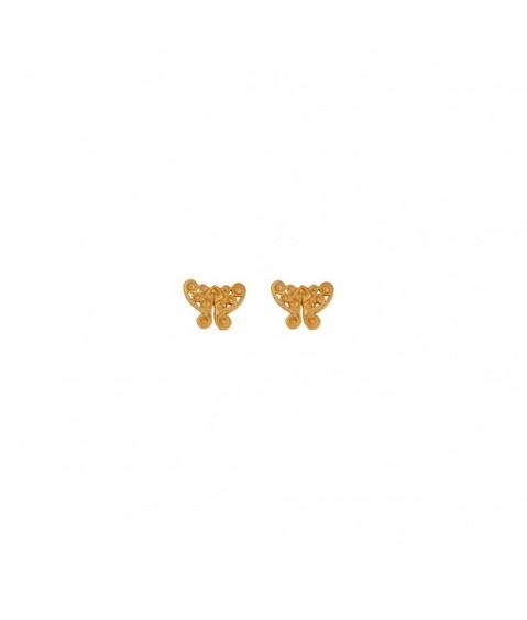 Boucles d'oreilles ethniques papillon Tairona plaqué or
